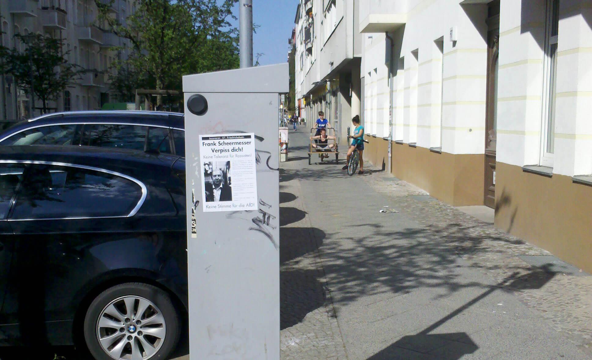 Plakat gegne Frank Scheermesser, Berlin-Friedrichshain