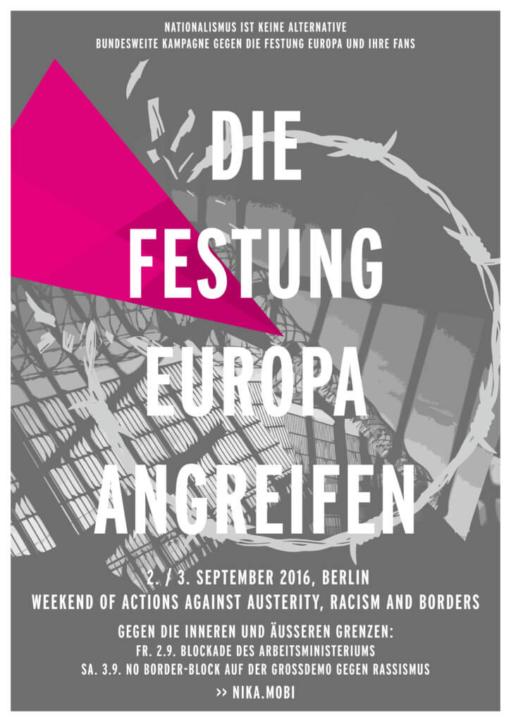 NIKA Plakat für das Weekend of Actions against Austerity, Racism and Borders
